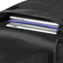 """Front pocket fits up to a 17"""" laptop and 10"""" tablet"""