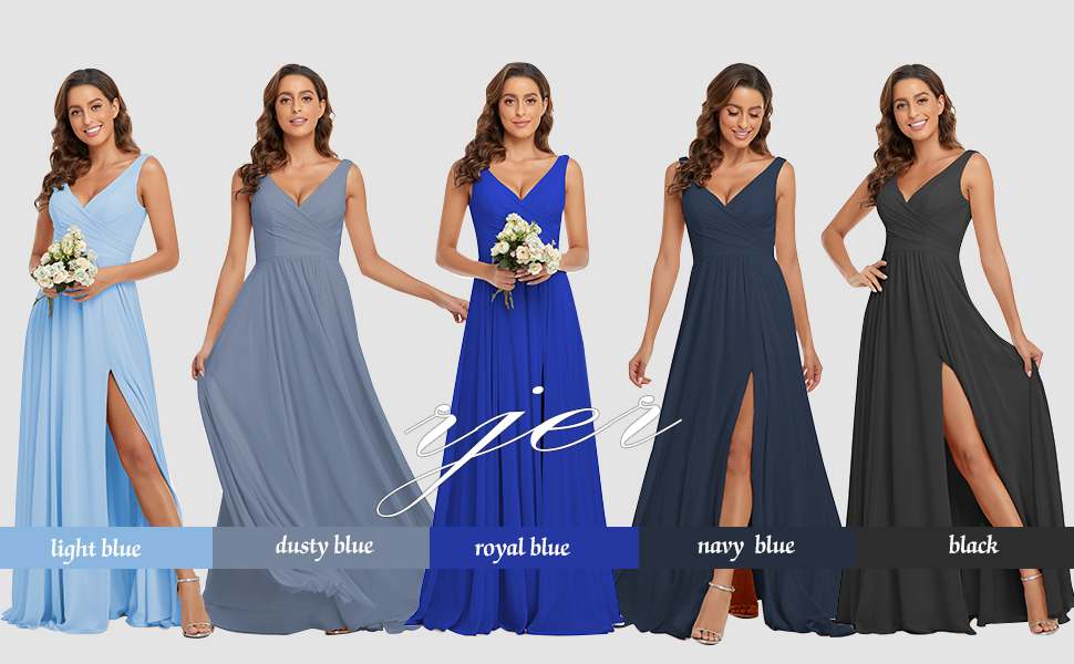 V Neck Bridesmaid Dresses Long Chiffon Split A Line Formal Dress Prom Evening Party Gowns 2021