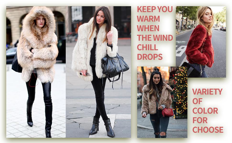 Women's Faux Shearling Shaggy Coat,Fashion Long Sleeve Zip Up Jacket Hooded