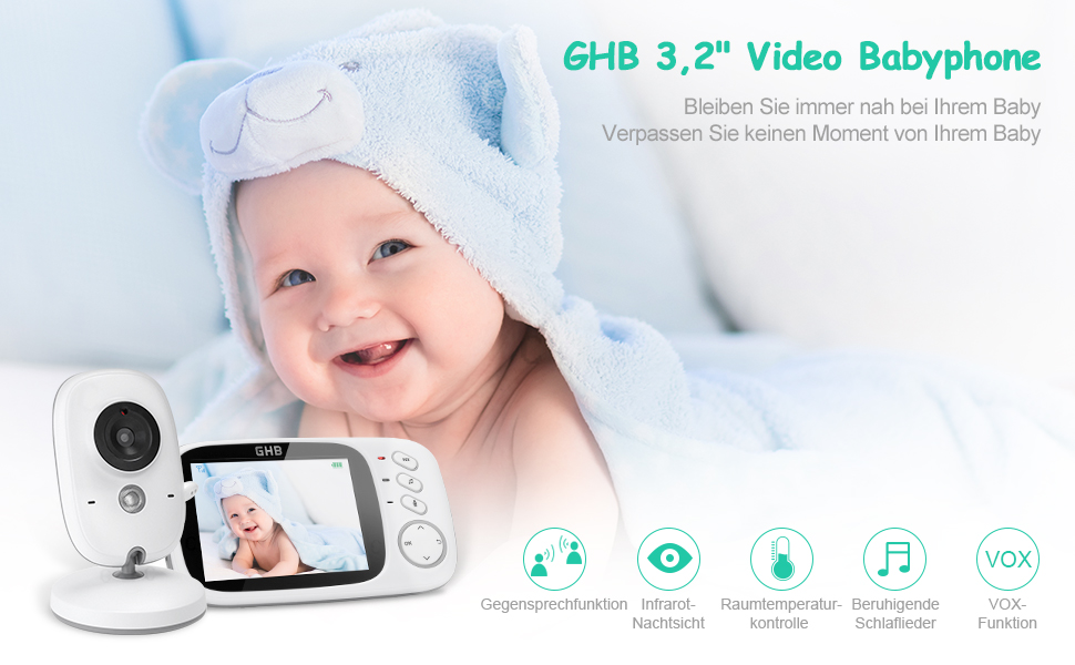 GHB 3,2 inch babyfoon met camera