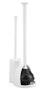 White Plastic Toilet Bowl Plunger and Cleaning Bowl Brush Combo with Discreet Housing Covering Head