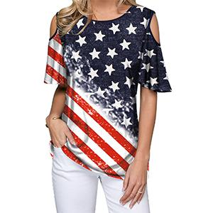 Women's Cold Shoulder American Flag T-Shirt Independence Day Patriotic Tunic Top