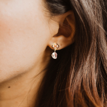 earring pearl fine jewelry hoop stud white rose pearl small earring