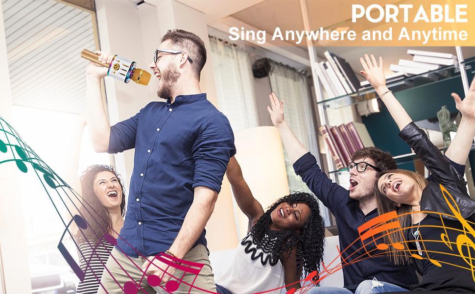 Karaoke Microphone Handheld Wireless Bluetooth Microphone Home KTV Player LED Lights Christmas Gift