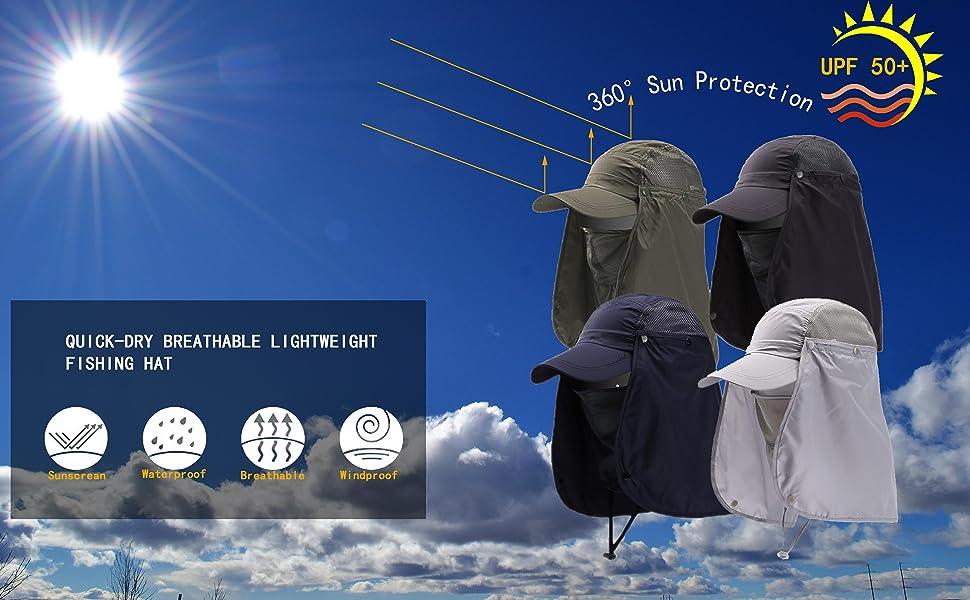 fishing hat cap UV sun protection UPF 50+ neck flap baseball summer men women mesh boonie summer