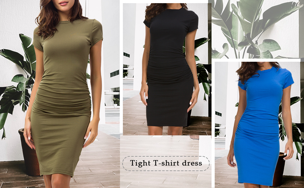 Missufe Short Sleeve Ruched Bodycon Dress