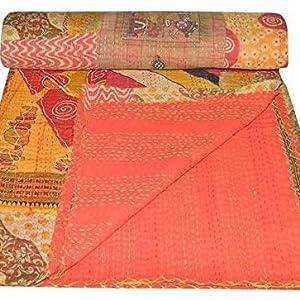 Indian Vintage Patchwork Twin Cotton Kantha Quilt Throw Blanket Gudari Blanket