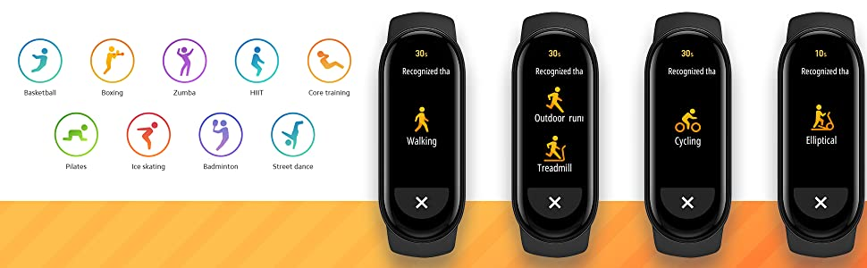 Tracks over 30 activities such as running walking treadmile elliptical basketball sports