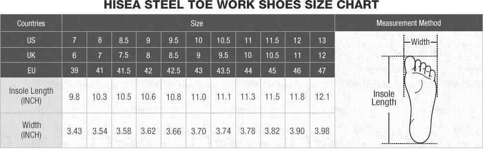 hisea work shoes size chart