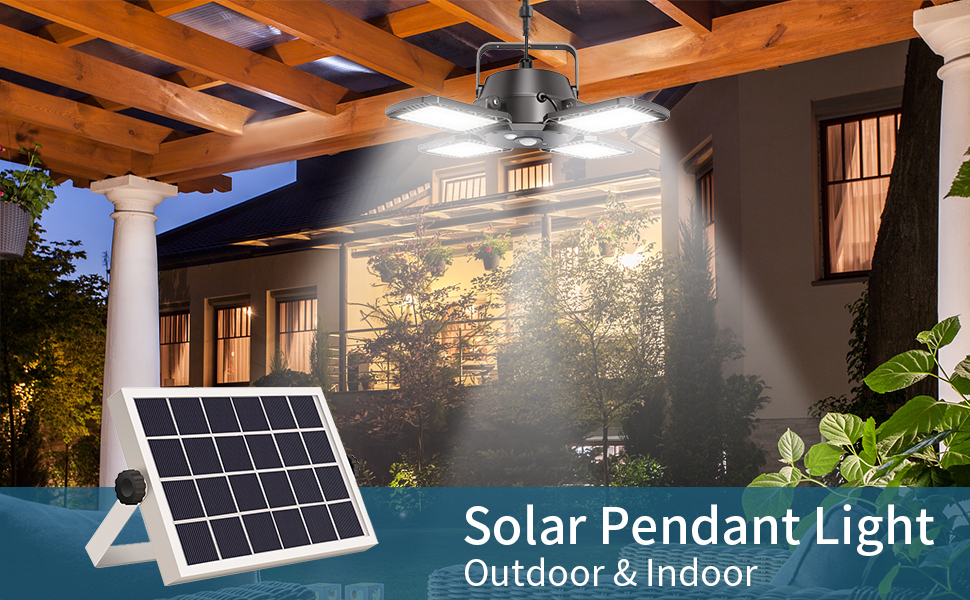 solar pendant light for outdoor and indoor use