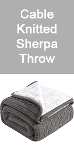 cable knitted sherpa throw