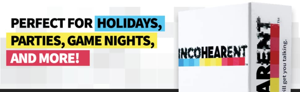 incohearent, party game, game night, card game, friends, reunion, holidays