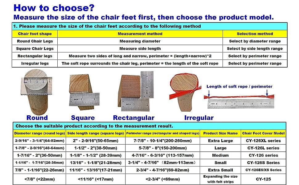 Aneaseit, CY-126, Chair legs, Felt Bottom, How to choose