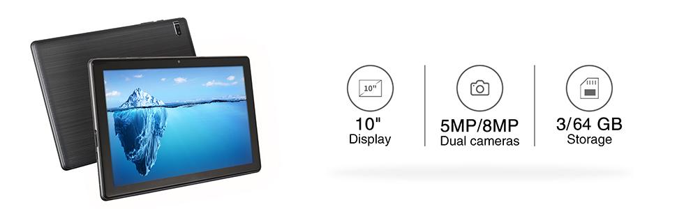 "10""Display 5MP/8MP Dual cameras 3/64GB Storage"