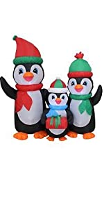 5 Foot Tall Lighted Christmas Inflatable Penguins Family with Gift LED Yard Art Decoration