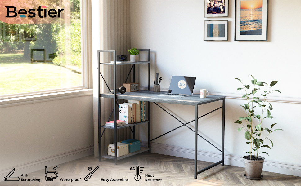 COMPUTER DESK WITH STORAGE SHELVES 47 INCH