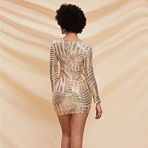 Glitter Long Sleeves Cocktail Dress