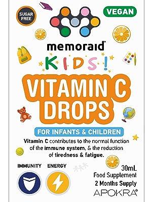 Vegan Vitamin C Drops for kids, babies, infants and children, sugar free, vit c for kids