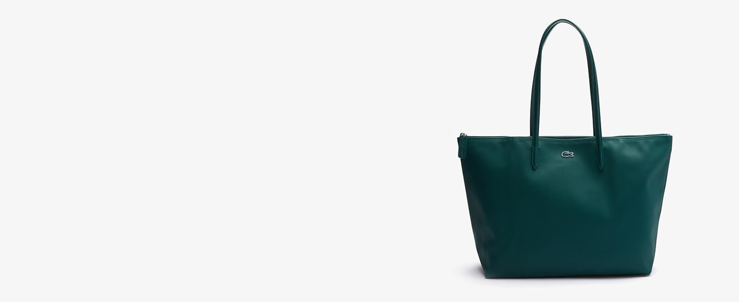 Bolso ligero verde con asas y cremallera Lacoste