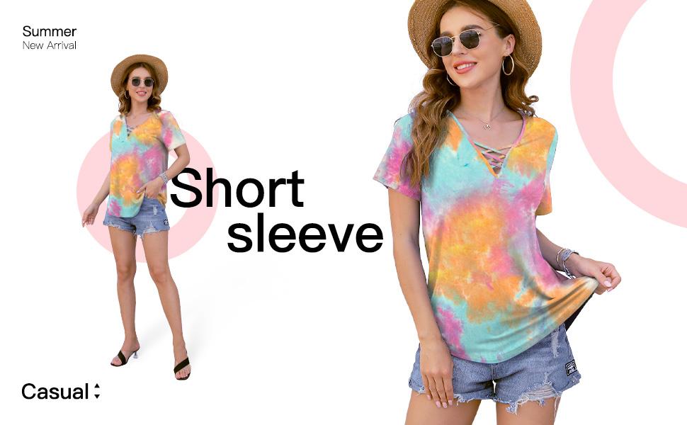 Women's Short Sleeve Criss Cross Casual Short Sleeve Basic Blouse