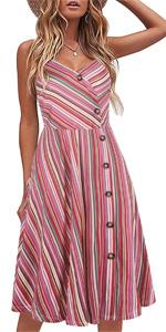 casual dresses for women sleeveless cotton summer beach dress A Line spaghetti strap sundresses