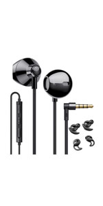 wired earbuds black
