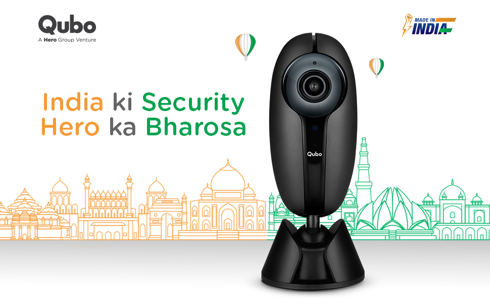 QUBO Smart Home Security WiFi Camera (Black) | Trust of Hero Group| Intruder Alarm System | 1080p Full HD 2MP Camera | Works with Alexa & Google | Designed and Made in India