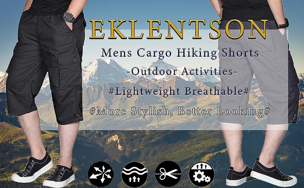 EKLENTSON Men's Long Shorts Elastic Cargo Shorts Below Knee Capri Pants Loose Fit with 6 Pockets