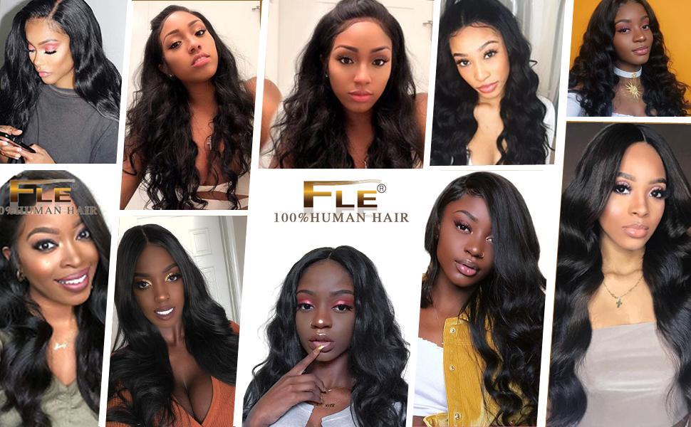 FLE Hair Brazilian Body Wave Bundles With Closure--100% Brazilian Body Wave Human Hair