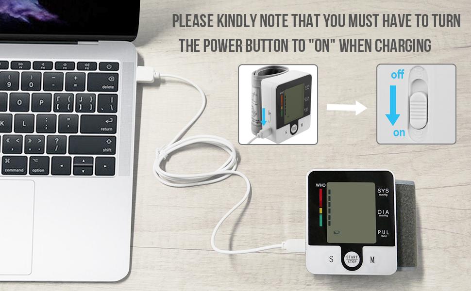 Wrist Blood Pressure Cuff Monitor with USB Charging, Automatic Digital BP Machine,Voice Broadcast