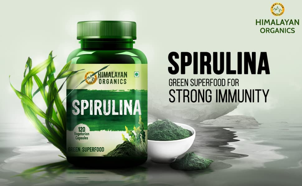Himalayan Organics Spirulina 2000mg Per Serving - 120 Veg Capsules