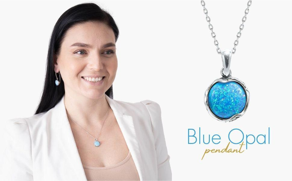 925 Sterling Silver Necklace Goddess Blue Opal Pendant October Birthstone Jewelry Lab Created Mistry Gems Statement Jewellery P2209