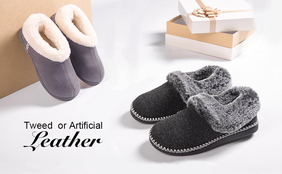 Women's Luxury Wool Slippers with Fluffy Faux Fur Collar and Handmade Lace Decor