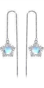 Moonstone Chain Earrings