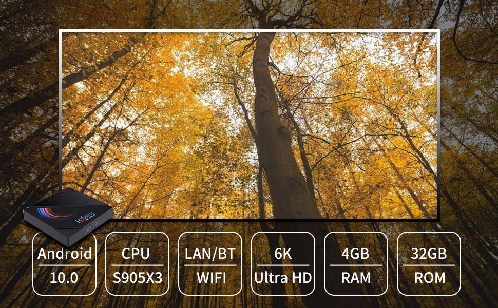 H96 Max h616 Android10.0 4+32gb samrt tv box