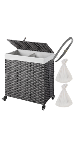 laundry hamper with wheels and lids