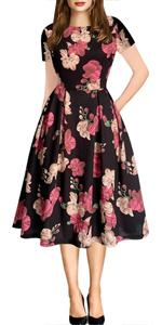 Vintage Dress for women O-Neck Contrast Casual Dress with Pockets Party Swing Tea Floral dress