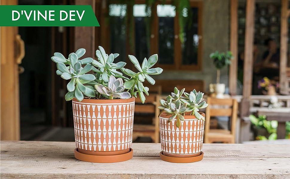 Geometric Seamless Design Terracotta Planter Pot, Ceramic Plant Pot with Drainage Hole and Tray