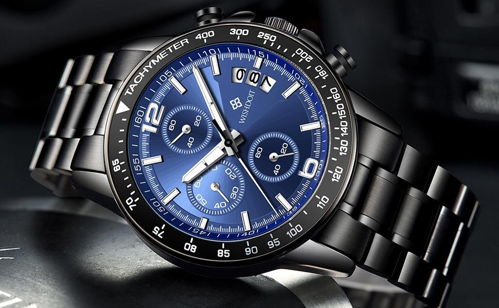 Field military multi-function stainless steel men's watch