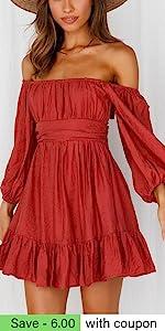 B095NQYD1K-款20 露背 Boho Puff Sleeves Mini Dress