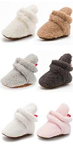 Unisex Newborn Baby Cozy Fleece Booties Stay On Slippers Soft Shoes Non Slip Girls Winter Shoes