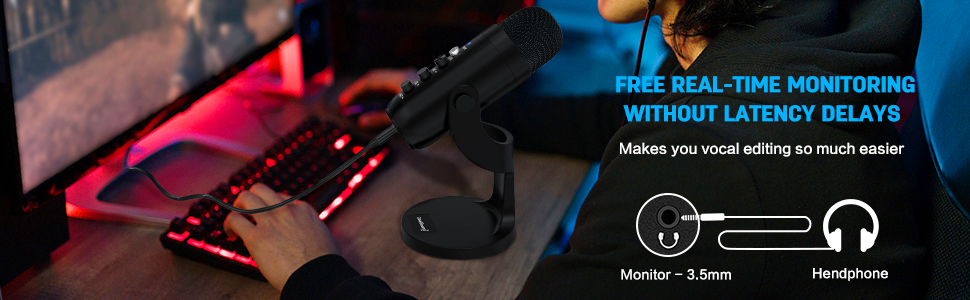 You can wear the microphone if you need to hear yourself when recording.