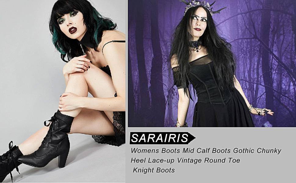 goth boots for women black boots Halloween Christmas high heel boots