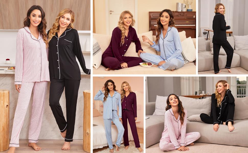 Ekouaer Womens long Sleeve Button Down Pajama Set