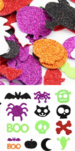 Halloween Foam Craft Stickers Self Adhesive Glitters