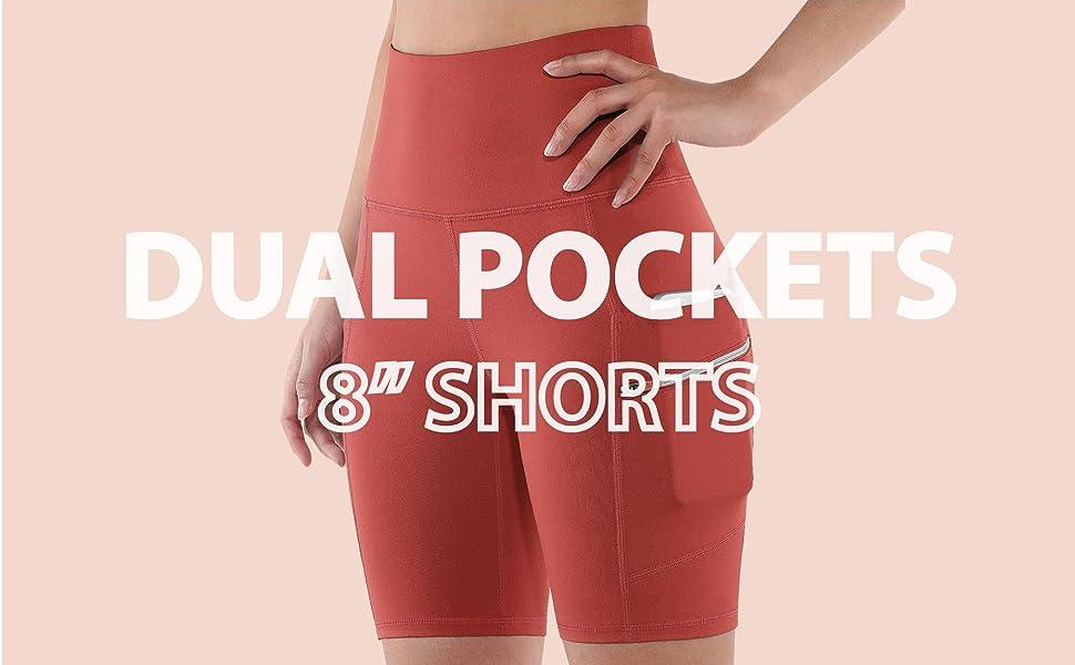 "ODODOS High Waist 8"" Yoga Biker Shorts with Dual Pockets"