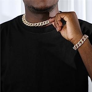 Cuban Necklace Bracelet Set gold