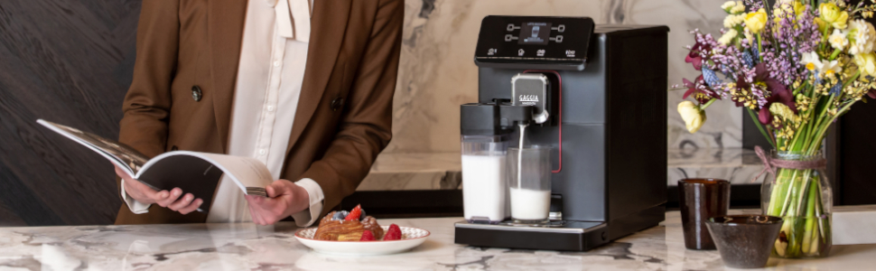 The Gaggia Magenta Prestige produces one-touch milk drinks that are customizable on the fly.