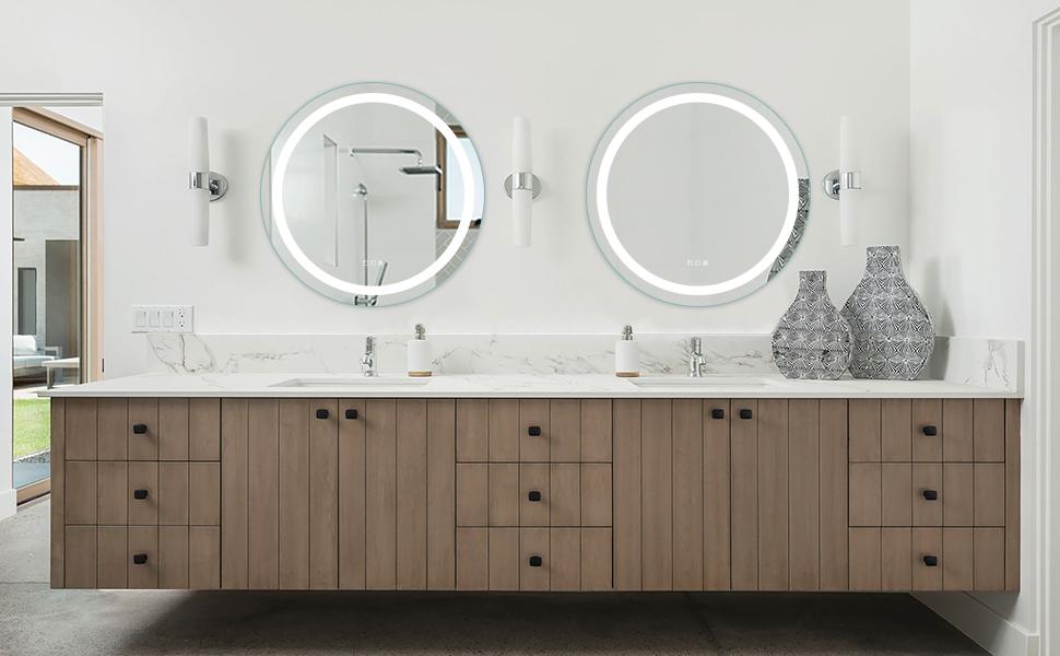 round led mirror for bathroom