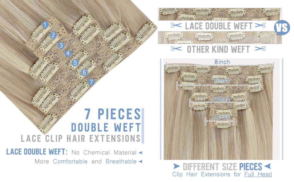 Lace Clip in Hair Extensions 7 pieces